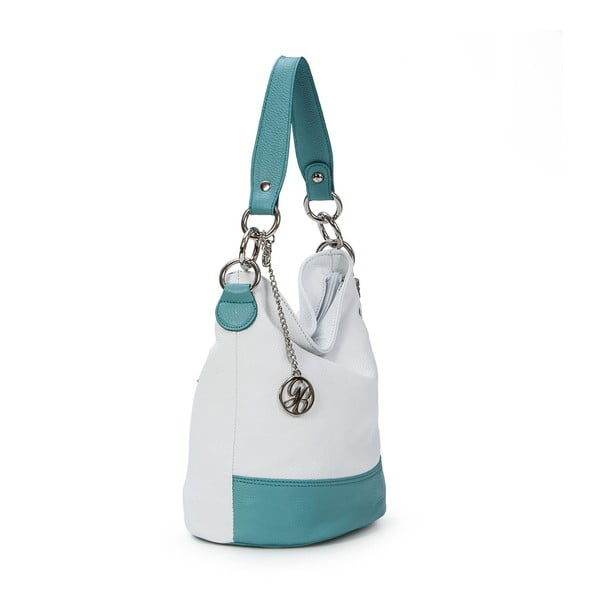 Kožená kabelka Luigi, bílá/sv.modrá