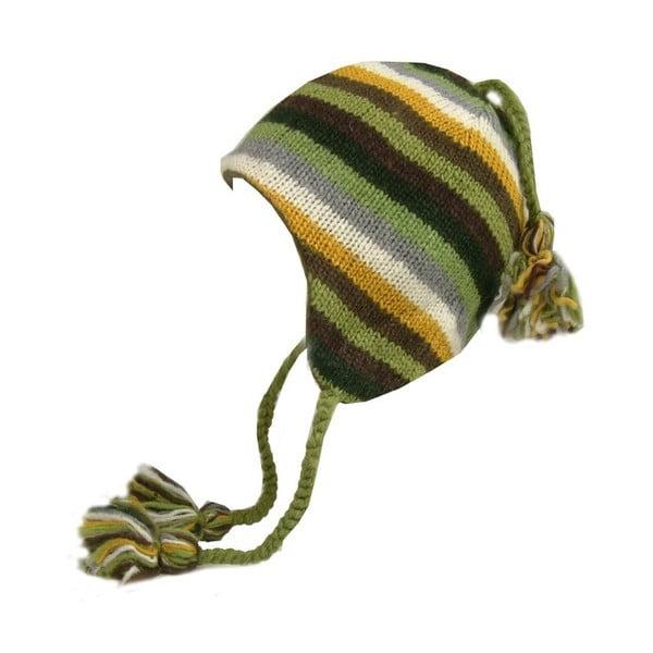 Vlněná čepice s ušima Zelené pruhy