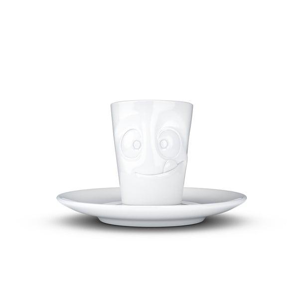 Cană cu farfurie din porțelan pentru espresso, zâmbet 58products, 80 ml, alb