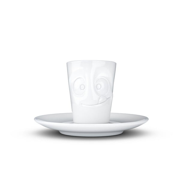 Bílý mlsný porcelánový hrneček na espresso s podšálkem 58products, objem 80 ml