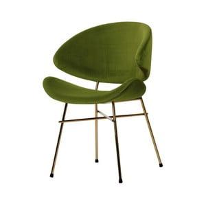 Zelená židle nohami ve zlaté barvě Iker Cheri