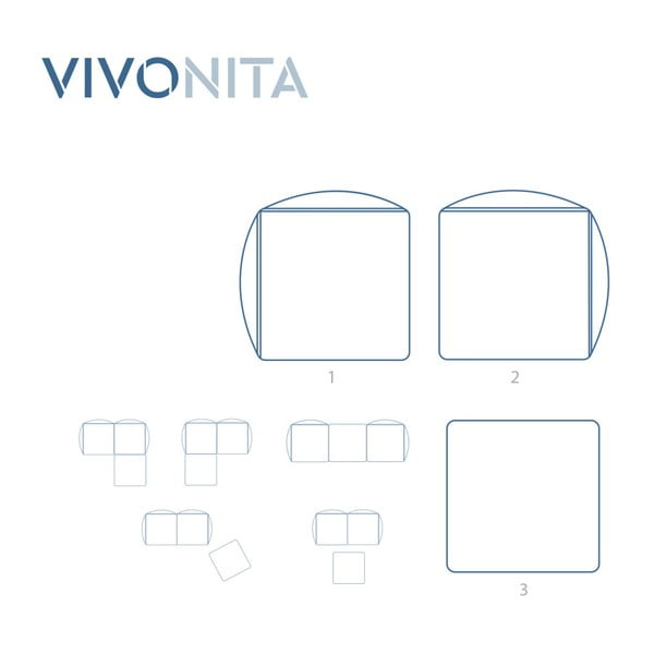Tmavě hnědá dvoumístná modulová pohovka s podnožkou Vivonita Cube