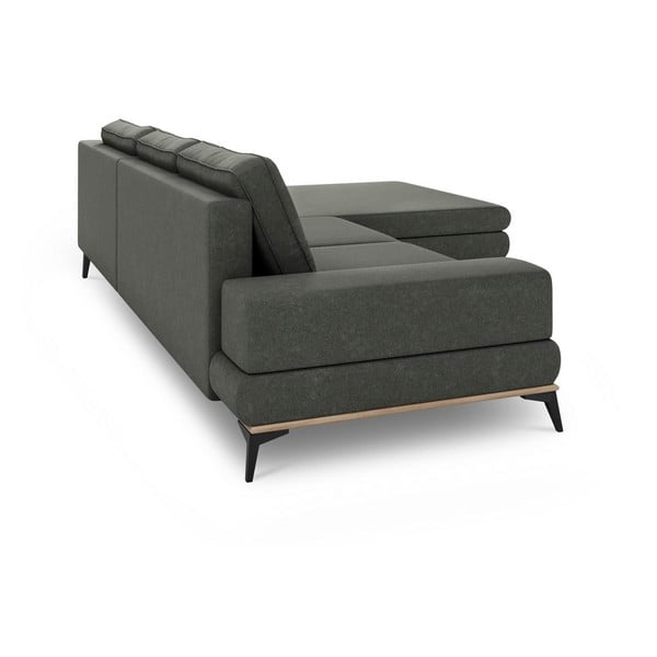 Canapea extensibilă tip colțar cu șezlong pe partea dreaptă Windsor & Co Sofas Planet, gri închis