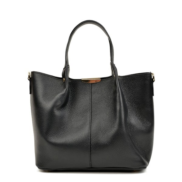 Hnědá kožená kabelka Carla Ferreri, 26 x 34 cm