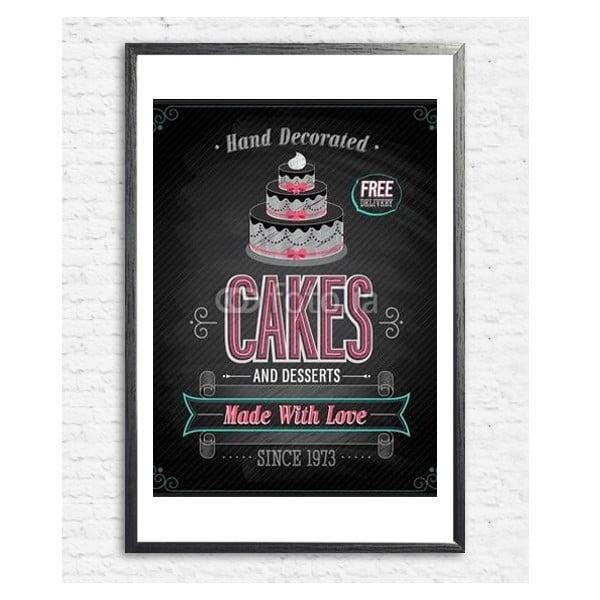 Zarámovaný plakát Cake, černý rám