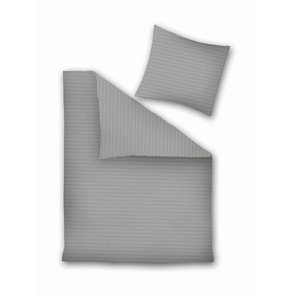 Šedé povlečení z mikroperkálu na dvoulůžko DecoKing, 155 x 220 cm