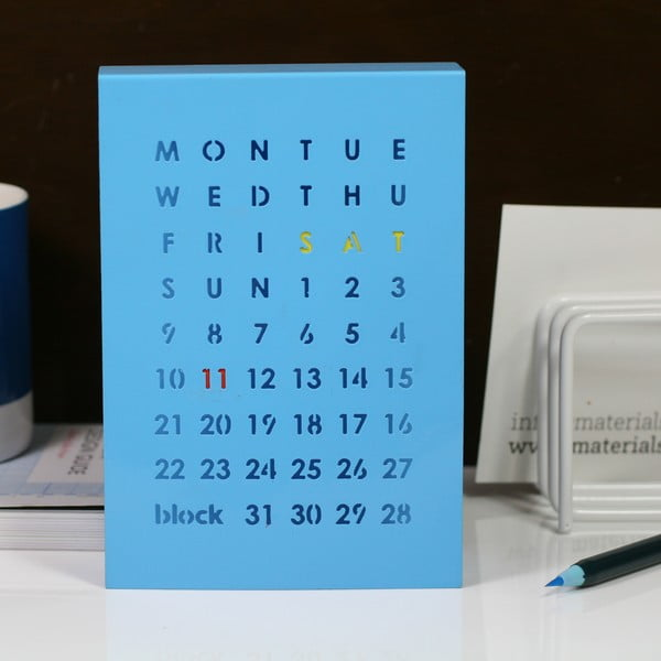 Magnetický kalendář na stůl Perpetual Calendar, modrý