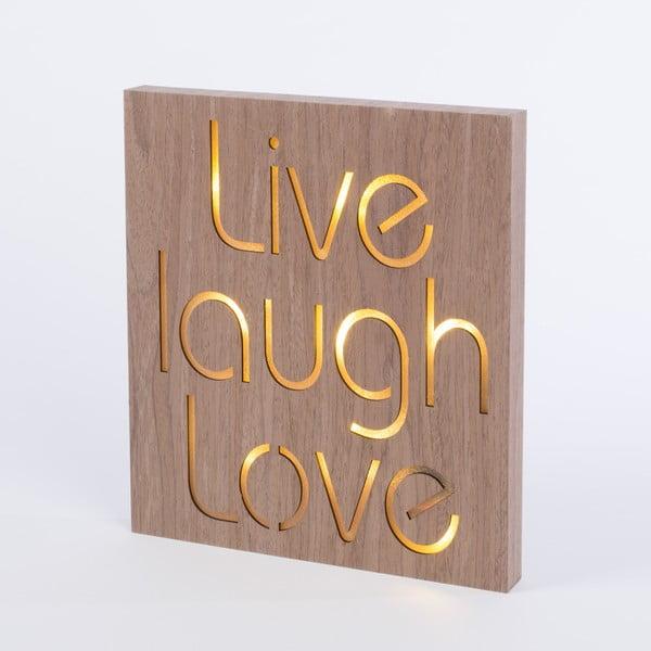Obraz se svítícím nápisem Live Laugh Love, 30x30 cm