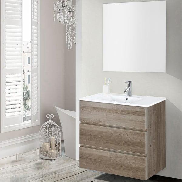 Koupelnová skříňka s umyvadlem a zrcadlem Nayade, dekor dubu, 70 cm
