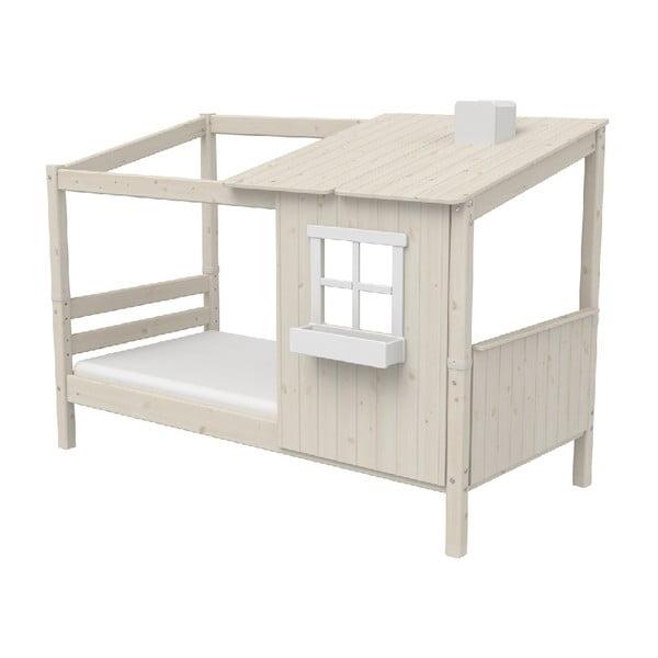 Białe łóżka w kształcie domu z drewna sosnowego Flexa Classic Tree House, 90x200 cm