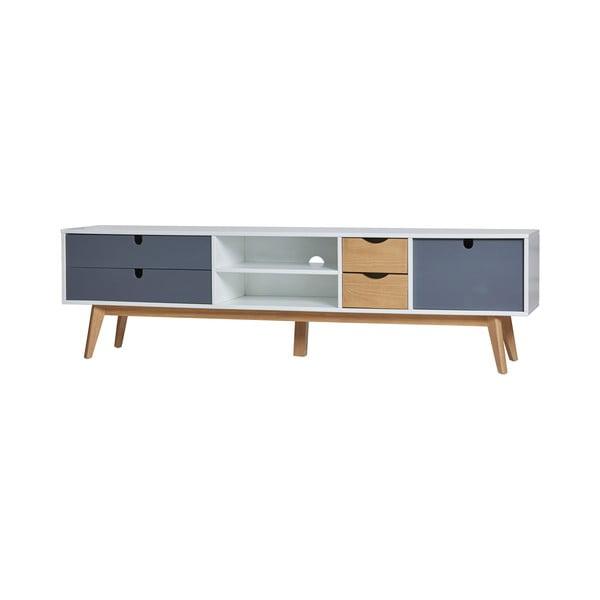Televizní stolek s šedými detaily Marckeric Mila, 180 x 37 cm