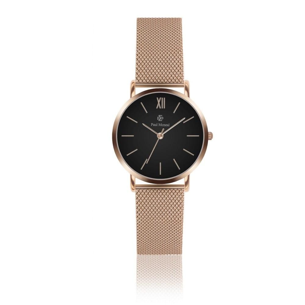 Dámské hodinky s řemínkem z nerezové oceli v barvě růžového zlata Paul McNeal Mea, ⌀ 3,6 cm