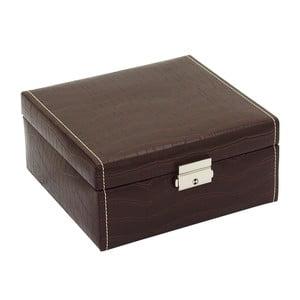 Hnědý box na 6 hodinek Friedrich Lederwaren Le Croc