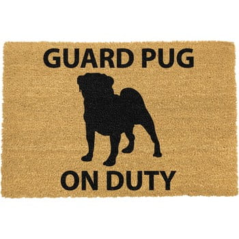 Covoraș intrare din fibre de cocos Artsy Doormats Guard Pug, 40 x 60 cm imagine