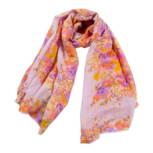 Šátek s příměsí hedvábí Shirin Sehan Fleuretta Lavender