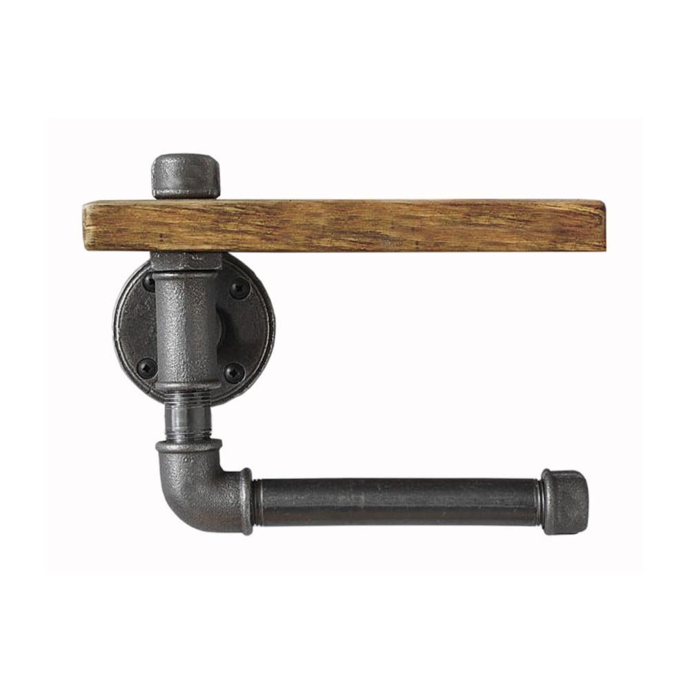 Dřevěná nástěnná police s držákem na toaletní papír Pipe