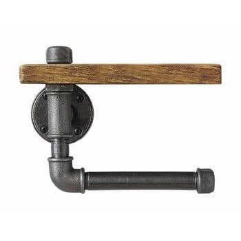 Raft de perete din lemn cu suport pentru hârtia igienică Confetti Bathmats Pipe