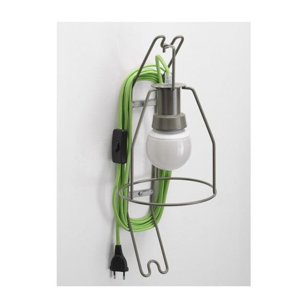Nástěnná lampa Walker, zelený kabel