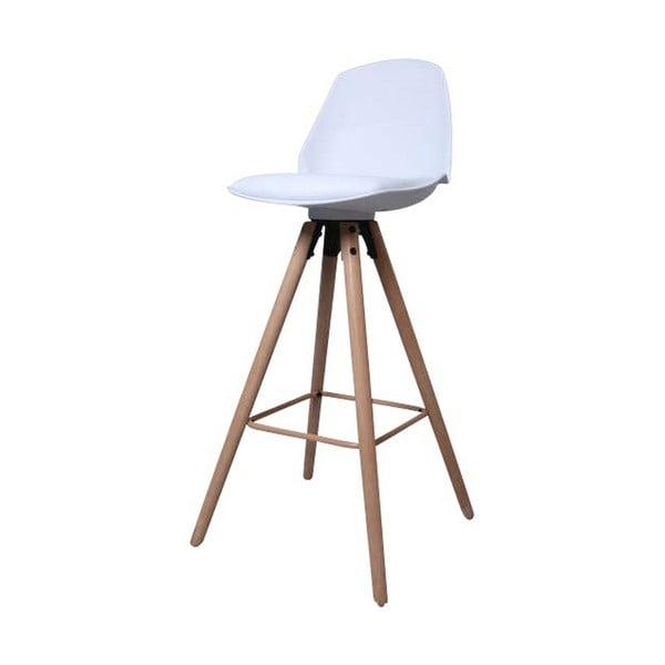 Bílá barová židle s podnožím z dubového dřeva Actona Oslo