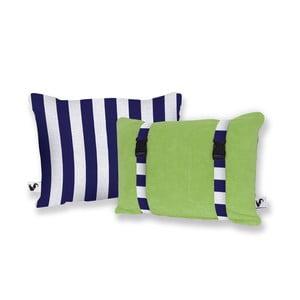 Zelený oboustranný plážový polštář Origama Blue Stripes