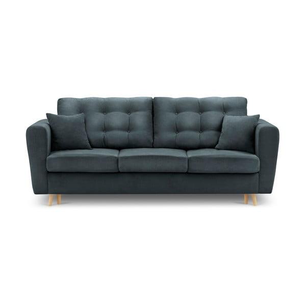 Canapea extensibilă cu spațiu de depozitare Kooko Home Highlife, albastru gri