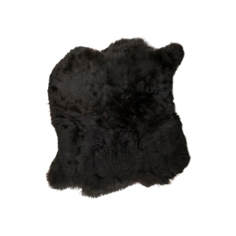 Černý kožešinový koberec s krátkým chlupem, 90 x 80 cm