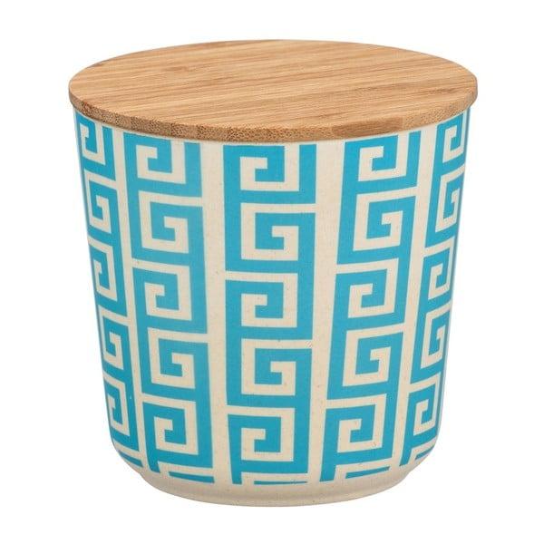 Edge kék-fehér kerámia tárolóedény bambusz fedővel, 500 ml - Wenko