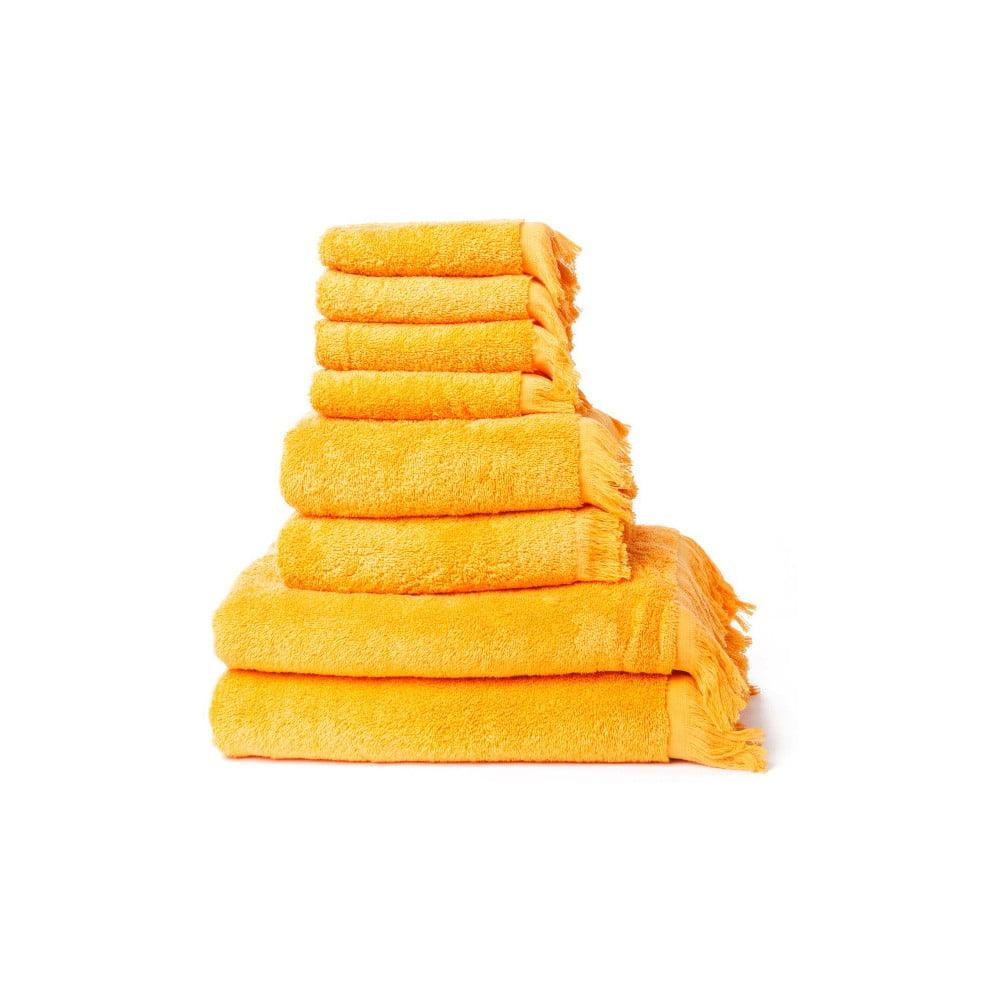 Set 4 žlutých osušek a 4 ručníků z čisté bavlny Casa Di Bassi Basic