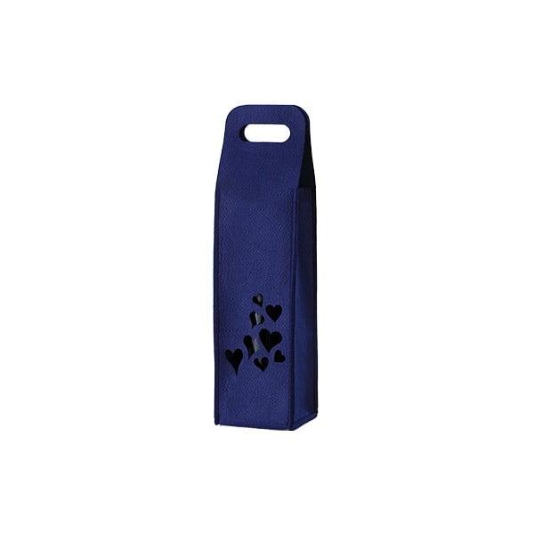 Plstěný obal na víno se srdíčky, modrý