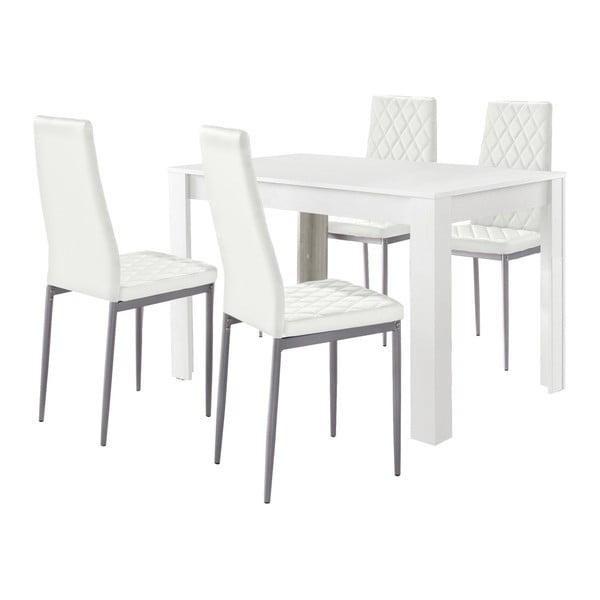 Set bílého jídelní stolu a 4 bílých jídelních židlí Støraa Lori and Barak, 120x80cm