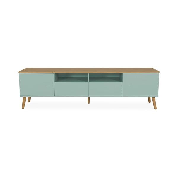 Zielona szafka pod TV z detalami w dekorze drewna dębowego Tenzo Dot, szer. 192 cm