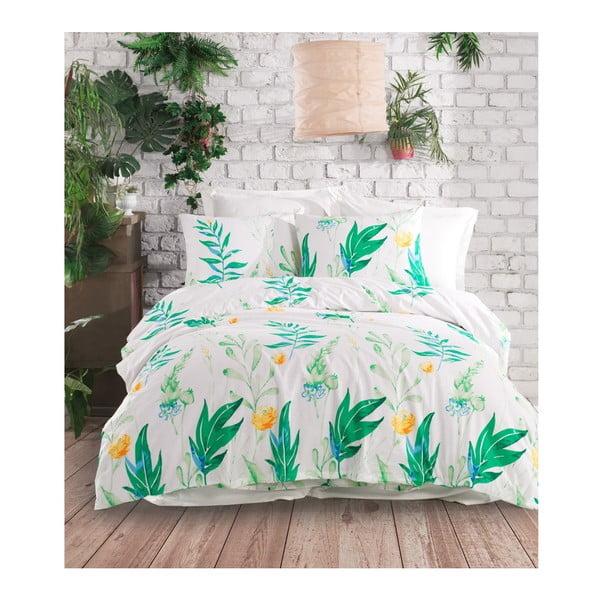 Lenjerie de pat cu cearșaf din bumbac ranforce, pentru pat dublu Mijolnir Arta Green, 200 x 220 cm