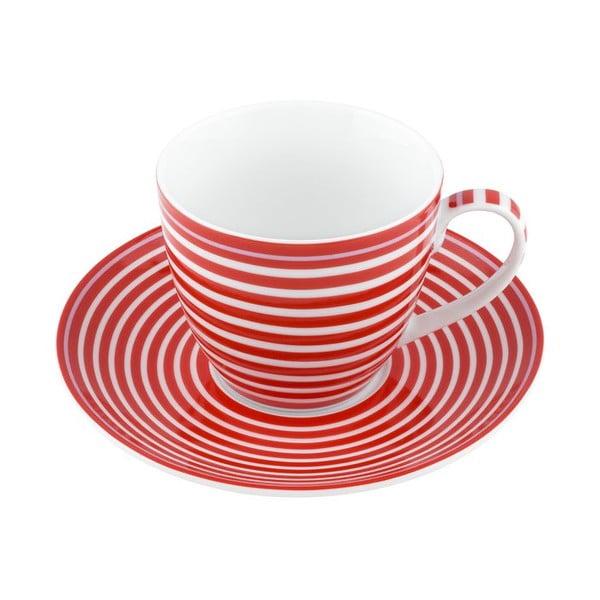 Porcelánový šálek s podšálkem Lines, červený 4 ks
