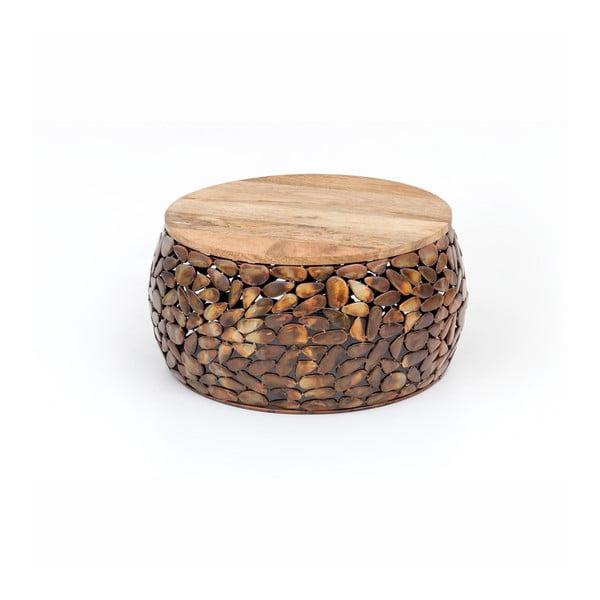 Konferenčný stolík s drevenou doskou WOOX LIVING Caramel, ⌀ 55 cm