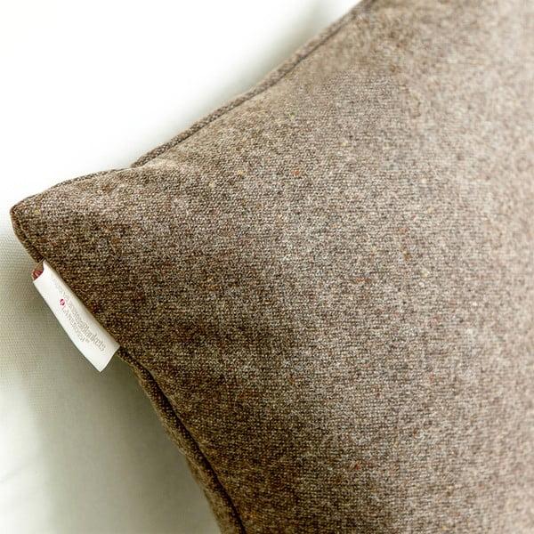 Vlněný polštář Tweed 60x60 cm, hnědý