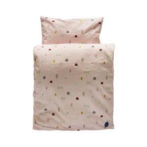 Set růžového dětského povlečení na peřinu a polštář z organické bavlny OYOY Happy Summer, 200 x 140 cm