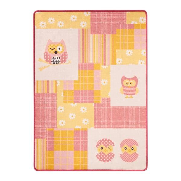 Owl rózsaszín-sárga gyerekszőnyeg, 100 x 140 cm - Zala Living