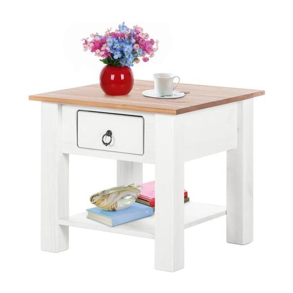 Bílý konferenční stolek z borovicového dřeva s přírodní deskou Støraa Klein