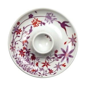 Sada 2 talířů s kalíškem na vejce Birds Cup, fialový