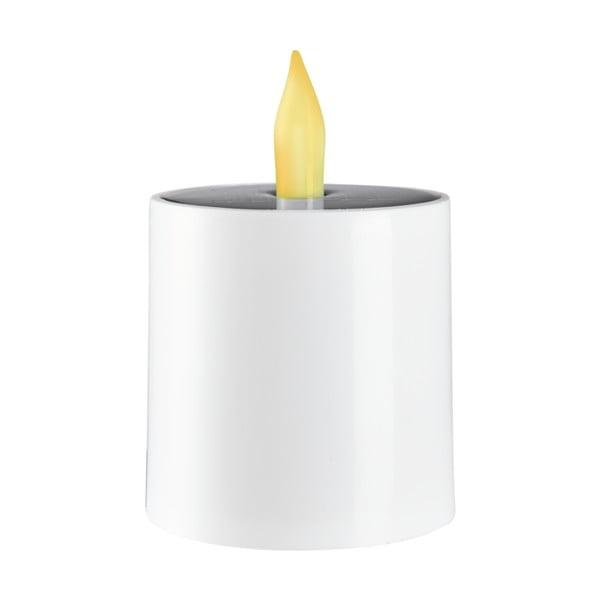 Bílá venkovní solární plastová LED svíčka BestSeason Saul