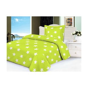 Lenjerie de pat din micropluș My House Stars, 140 x 200 cm, verde lime-alb