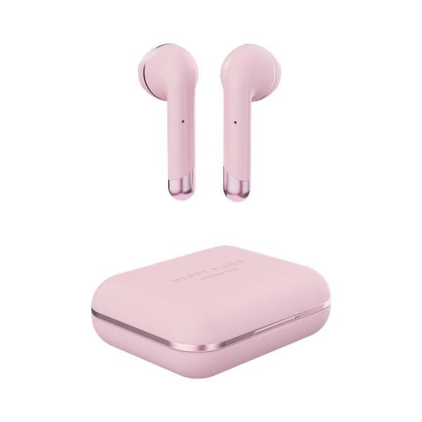 Ružové bezdrôtové slúchadlá s detailmi v zlatej farbe so škatuľkou Happy Plugs Air 1
