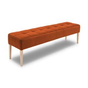 Oranžová lavice s dubovými nohami Mossø Hattu, délka 172 cm
