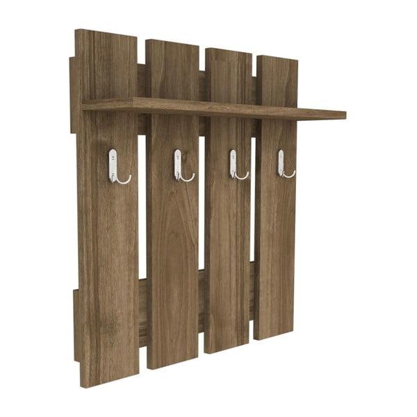 Raft de perete cu 4 cârlige Carina, maro închis