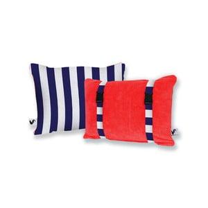 Červený oboustranný plážový polštář Origama Blue Stripes