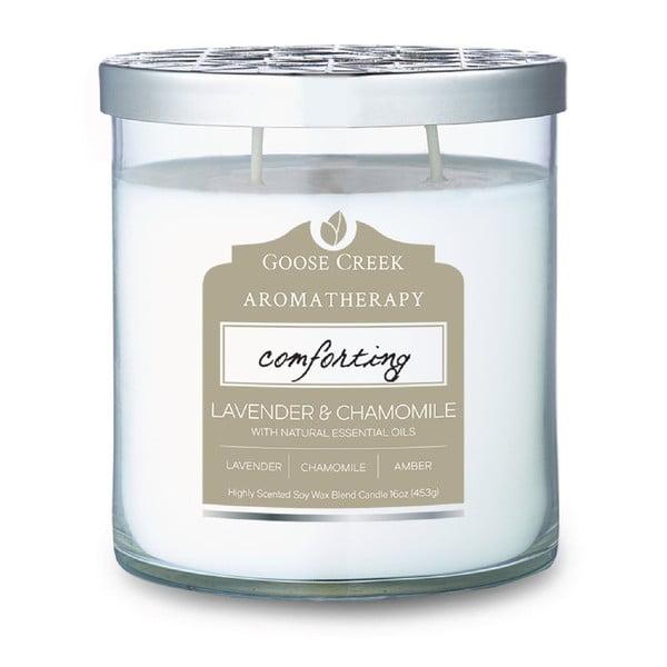 Świeczka zapachowa w szklanym pojemniku Goose Creek Lavender & Camomile, 60 godz. palenia