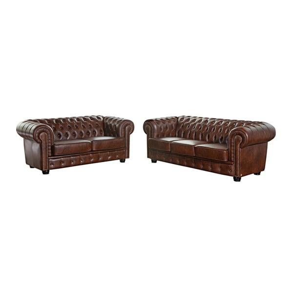Canapea din piele cu 3 locuri Max Winzer Norwin, maro