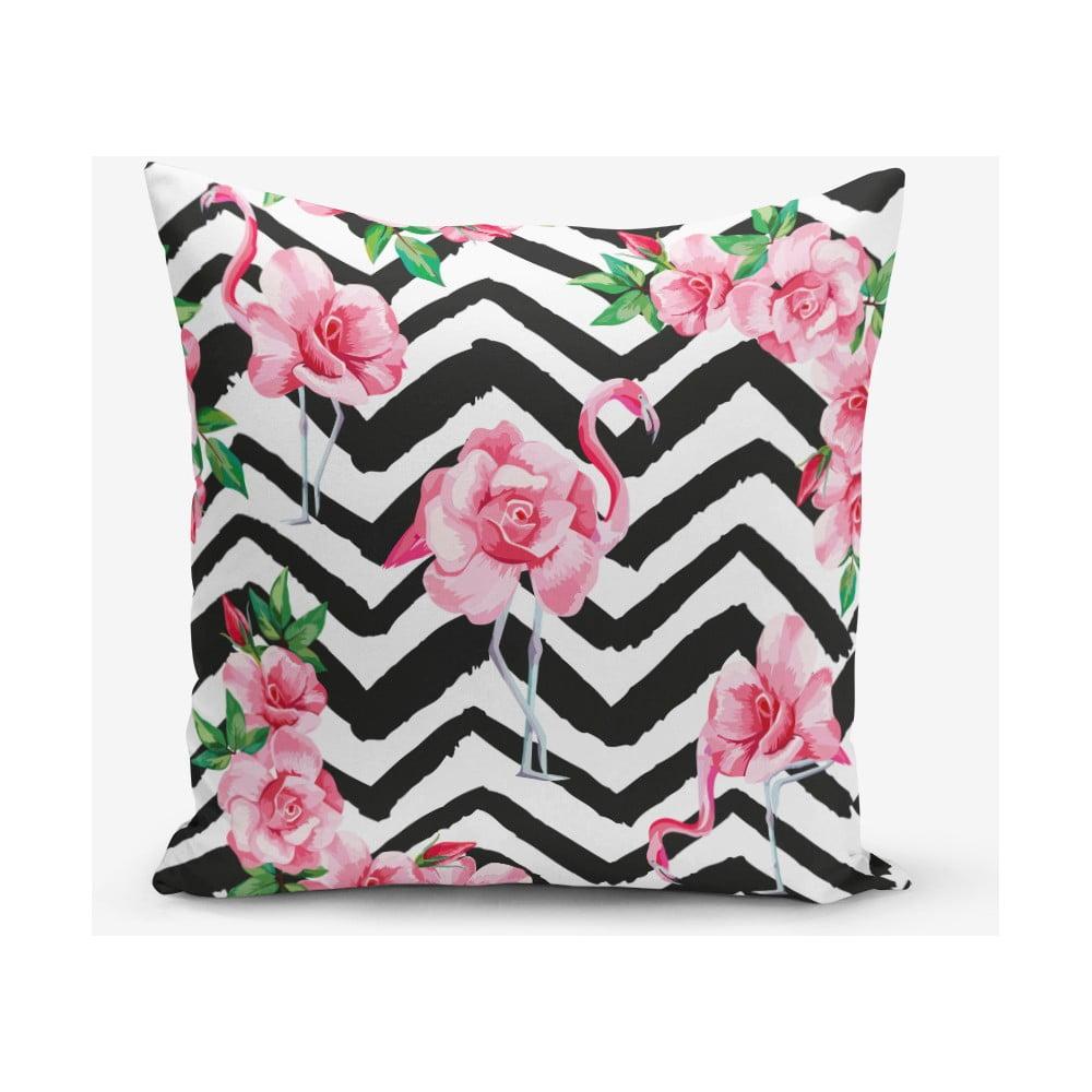 Povlak na polštář s příměsí bavlny Minimalist Cushion Covers Stripped Flamingo, 45 x 45 cm