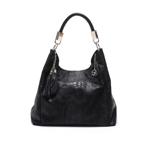 Černá kožená kabelka Carla Ferreri Foto