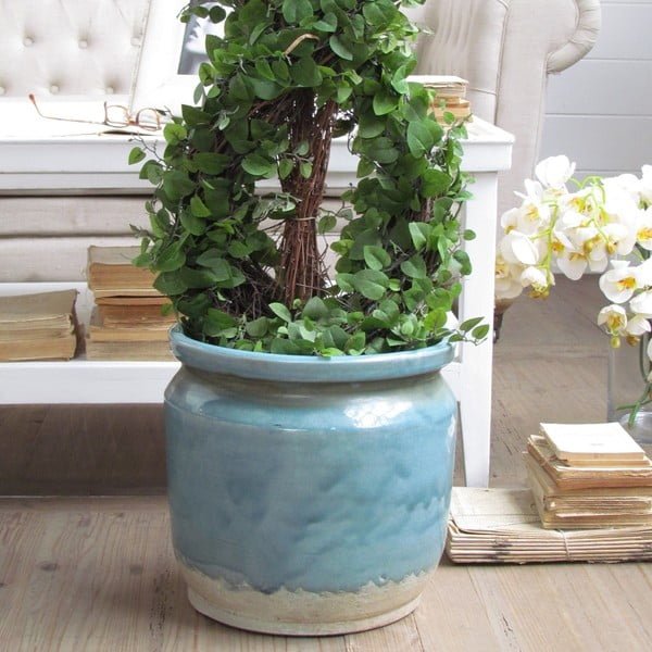 Květináč Napoli Turquoise Raw, 34x30 cm